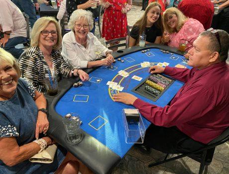 Women sitting at blackjack table